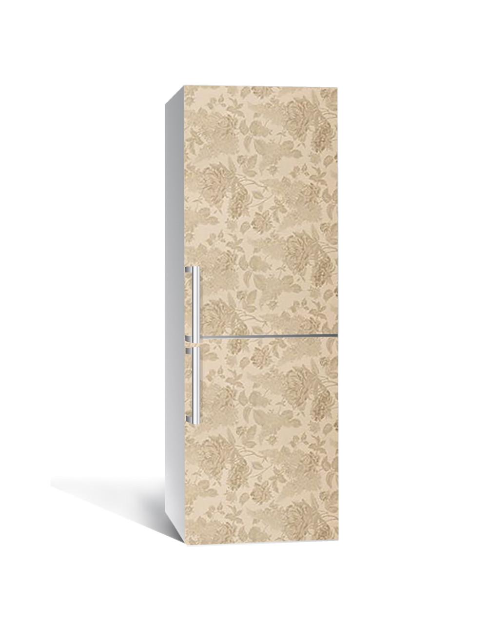 Декор 3Д наклейка на холодильник Песочная клумба Розы (пленка ПВХ фотопечать) 65*200см Абстракция Бежевый