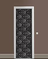 Вінілові наклейки на двері Вензельний Візерунок ПВХ плівка з ламінуванням 65*200см Абстракції Чорний