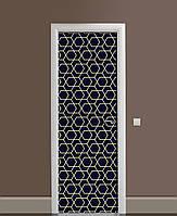 Декор двери Наклейка виниловая Золото Зигзаги на темном фоне ПВХ пленка с ламинацией 65*200см Геометрия Черный