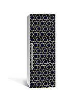 Наклейка на холодильник Золото Зигзаги на темному тлі (плівка ПВХ фотодрук) 65*200см Геометрія Чорний