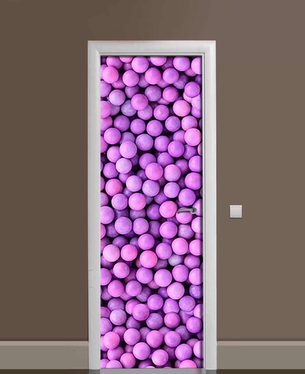 Декор двері Наклейка вінілова Яскраві цукерки Кульки ПВХ плівка з ламінуванням 65*200см Їжа Фіолетовий