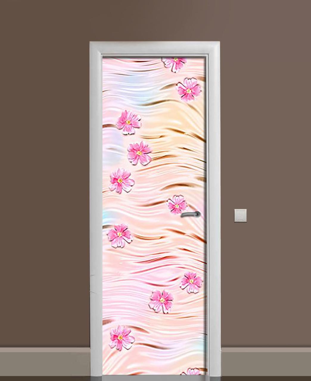 Виниловые наклейки на дверь Герберы и Шелк ПВХ пленка с ламинацией 65*200см Текстуры Розовый