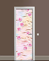 Вінілові наклейки на двері Гербери і Шовк ПВХ плівка з ламінуванням 65*200см Текстура Рожевий