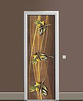 Вінілова наклейка на двері Золота оливка Лінії ПВХ плівка з ламінуванням 65*200см Абстракція Коричневий
