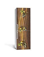 Виниловая наклейка на холодильник 3Д Золотая оливка Линии (пленка ПВХ) 65*200см Абстракция Коричневый