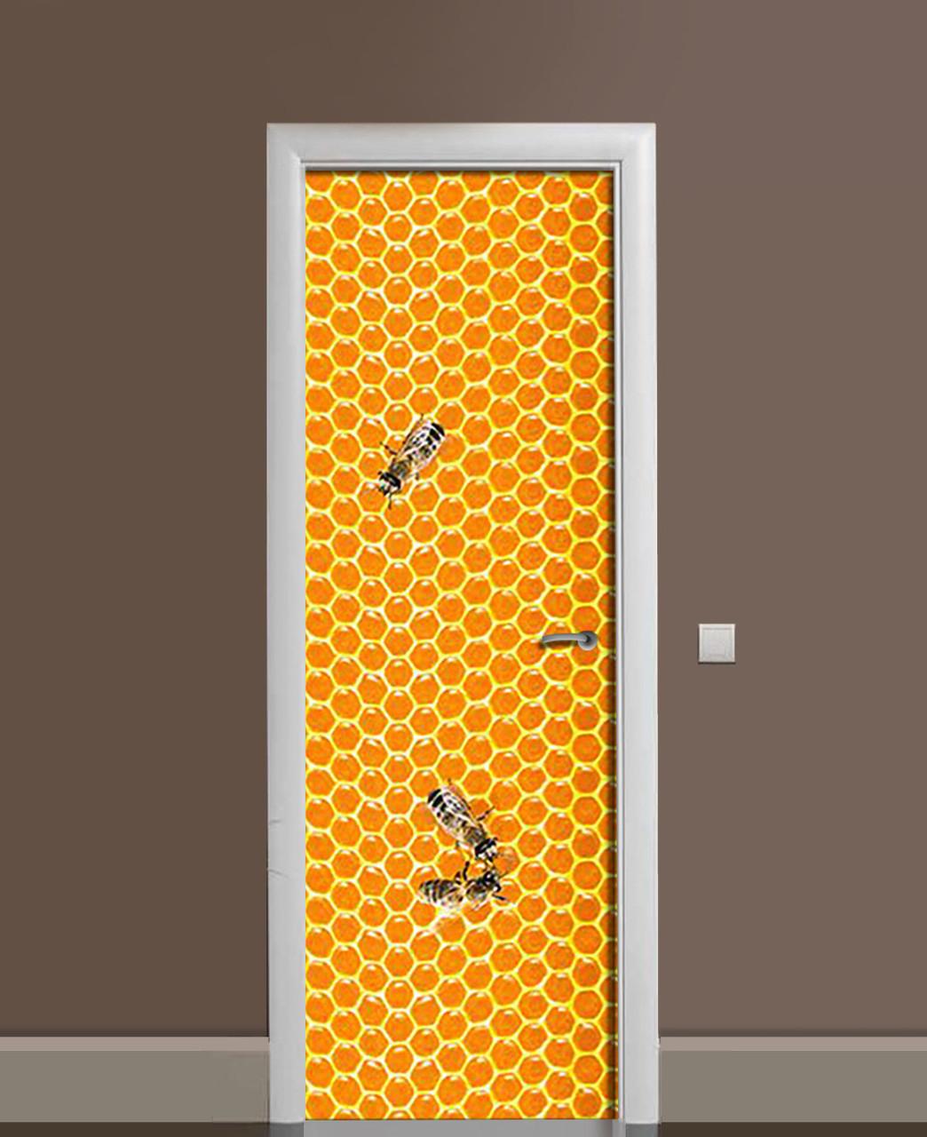 Вінілові наклейки на двері Медові соти Бджоли ПВХ плівка з ламінуванням 65*200см Текстура Помаранчевий