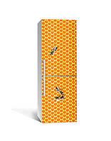 Вінілова 3Д наклейка на холодильник Медові соти Бджоли (плівка ПВХ фотодрук) 65*200см Текстура Помаранчевий