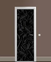 Декоративна наклейка на двері Чорний оксамит Шовк ПВХ плівка з ламінуванням 65*200см Текстура Чорний