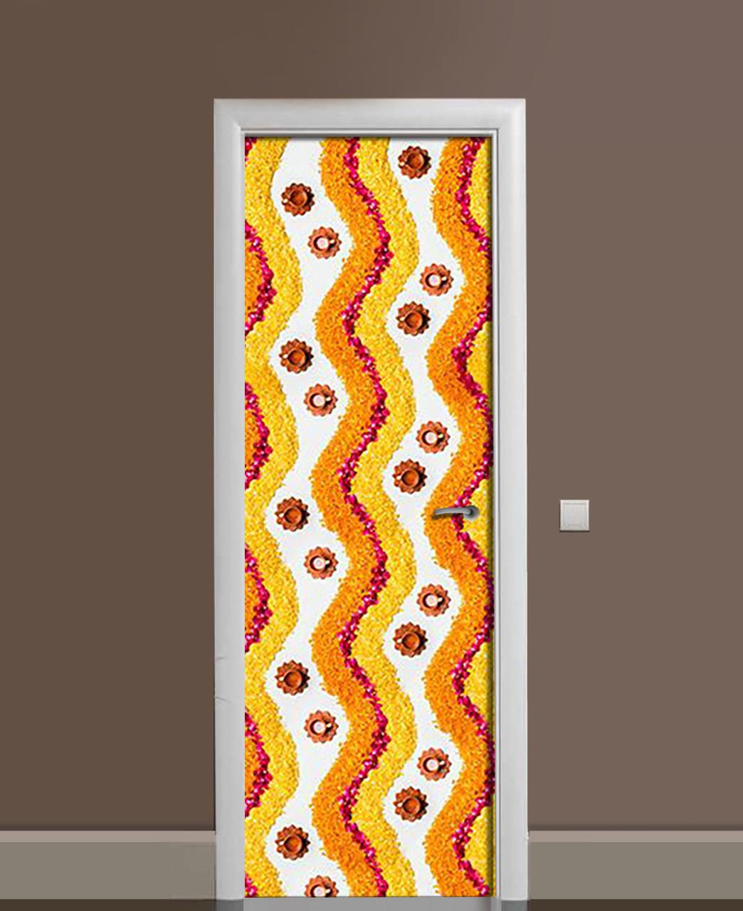 Вінілові наклейки на двері Візерунок з пелюсток ПВХ плівка з ламінуванням 65*200см Абстракція Помаранчевий