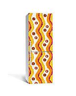Виниловая 3Д наклейка на холодильник Узор из лепестков (пленка ПВХ фотопечать) 65*200см Абстракция Оранжевый