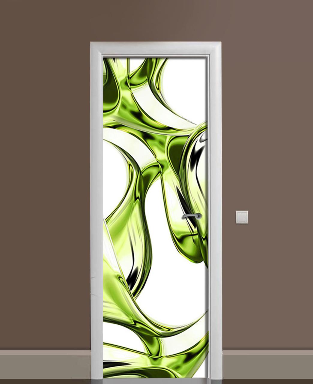 Декор двери Наклейка виниловая Бутылочное стекло Линии ПВХ пленка с ламинацией 65*200см Абстракции Зелёный