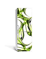 Наклейка на холодильник Бутылочное стекло Линии (пленка ПВХ с ламинацией) 65*200см Абстракции Зелёный