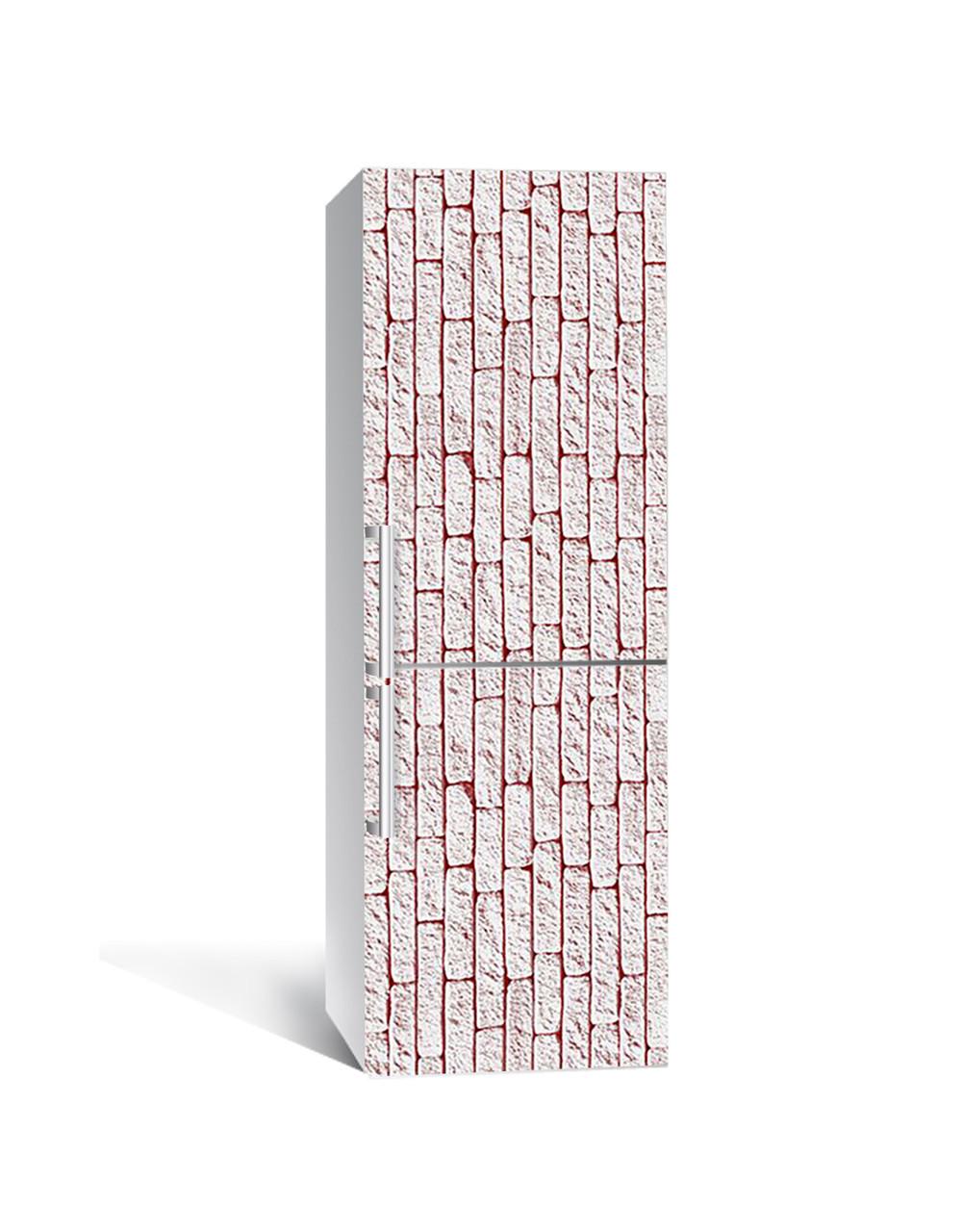 Вінілова наклейка на холодильник 3Д Цегляна кладка Плитка (плівка ПВХ фотодрук) 65*200см Текстура Бежевий