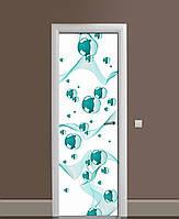 Вінілові наклейки на двері Бірюзові сфери ПВХ плівка з ламінуванням 65*200см Геометрія Білий