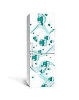 Вінілова 3Д наклейка на холодильник Бірюзові сфери (плівка ПВХ фотодрук) 65*200см Геометрія Білий