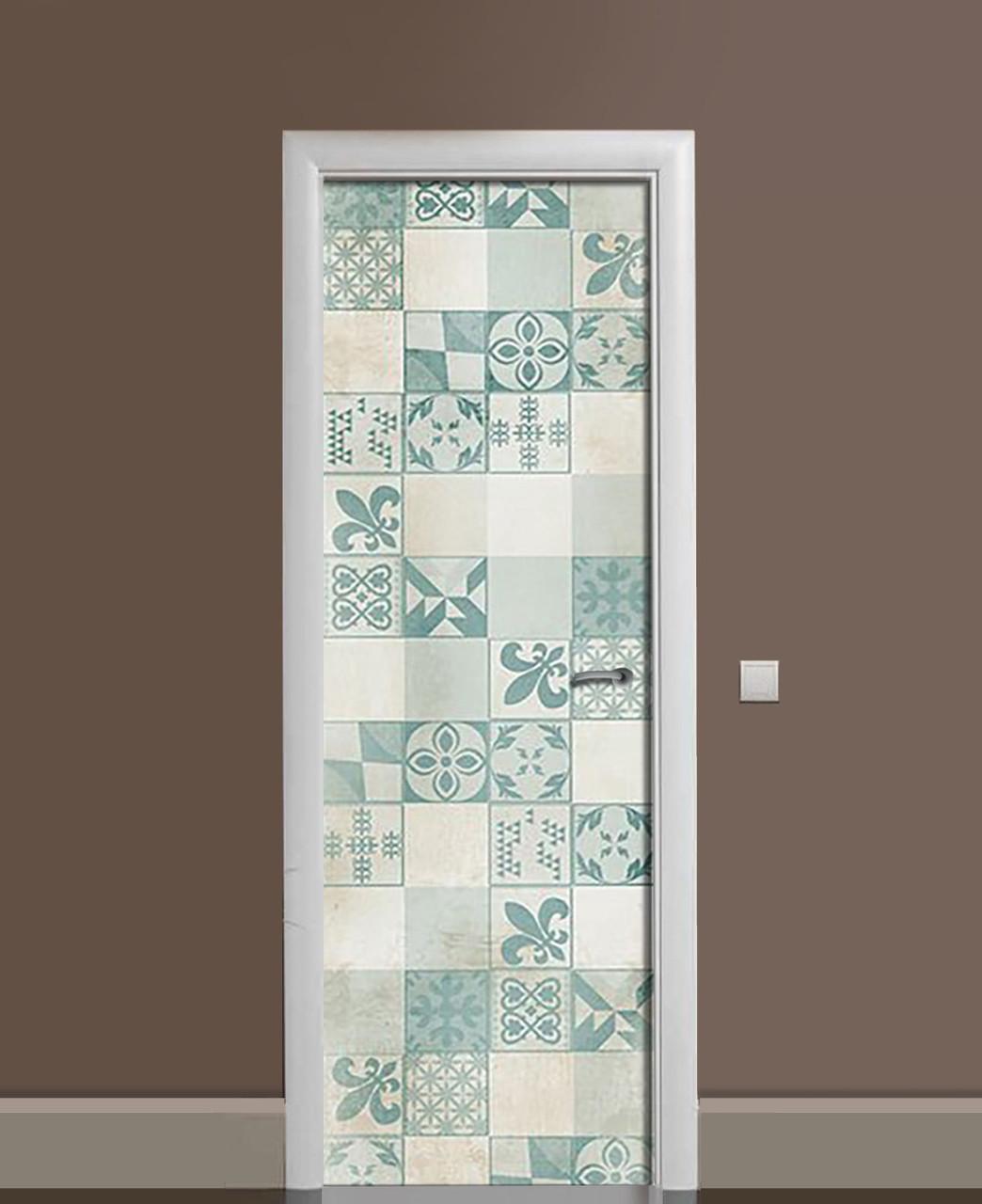 Декоративная наклейка на двери Азулежу Бирюза Пэчворк ПВХ пленка с ламинацией 65*200см Геометрия Голубой