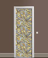 Декоративная наклейка на двери Золотой орнамент Вензель ПВХ пленка с ламинацией 65*200см Текстуры Серый