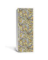 Декор 3Д наклейка на холодильник Золотой орнамент Вензель (пленка ПВХ фотопечать) 65*200см Текстуры Серый