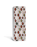 Виниловая 3Д наклейка на холодильник Плавные ромбы Мозаика (пленка ПВХ фотопечать) 65*200см Геометрия Бежевый
