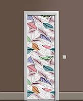 Вінілова наклейка на двері Листя Пір'я малюнок ПВХ плівка з ламінуванням 65*200см Текстура Зелений