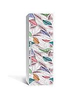 Вінілова наклейка на холодильник 3Д Листя Пір'я малюнок (плівка ПВХ фотодрук) 65*200см Текстура Зелений