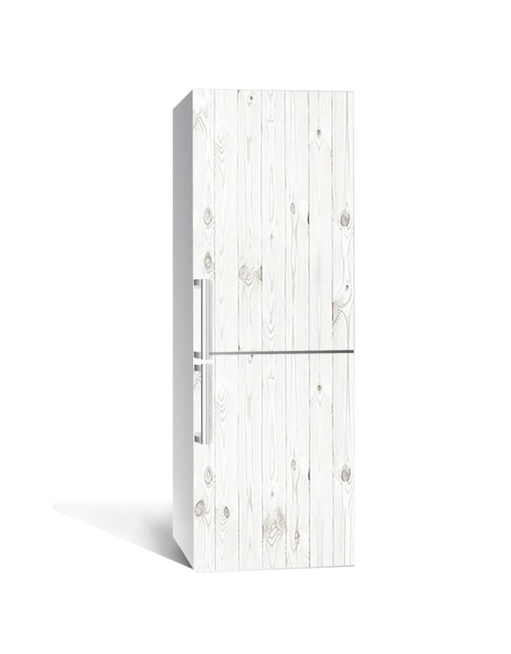 Декор 3Д наклейка на холодильник Біла дошка під Дерево (плівка ПВХ фотодрук) 65*200см Текстура Сірий