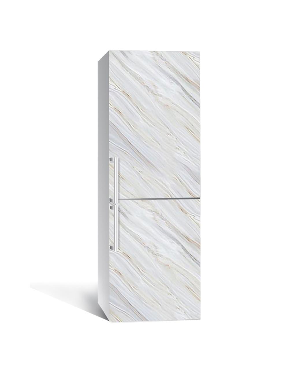 Вінілова наклейка на холодильник 3Д Сірий Камінь Мармур (плівка ПВХ фотодрук) 65*200см Текстура Сірий
