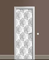 Декор двері Наклейка вінілова 3Д Плетіння Обман зору ПВХ плівка з ламінуванням 65*200см Геометрія Сірий