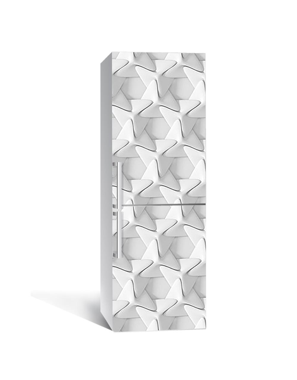 Наклейка на холодильник 3Д Плетіння Обман зору (плівка ПВХ з ламінуванням) 65*200см Геометрія Сірий