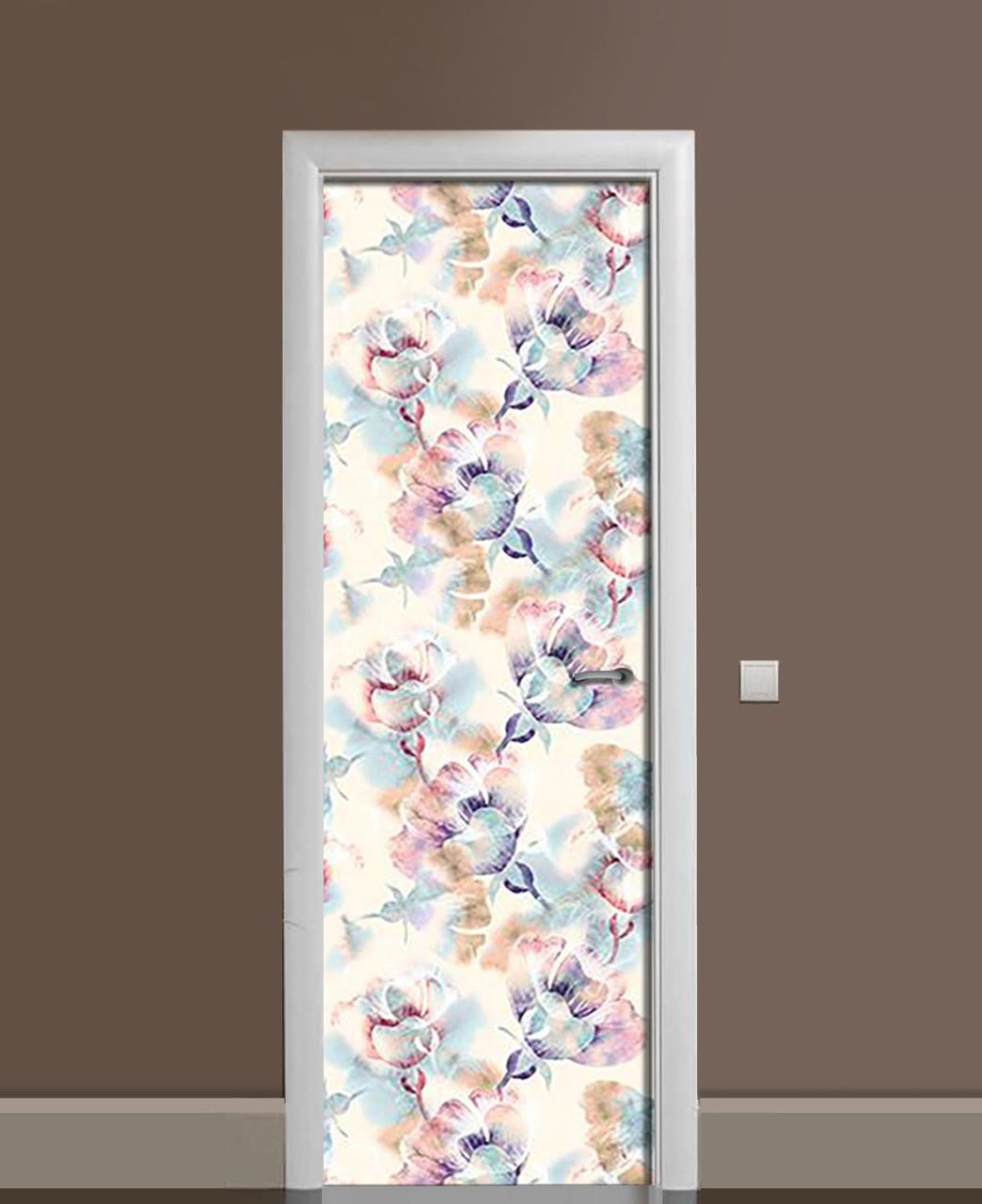 Вінілові наклейки на двері Квітковий гербарій ПВХ плівка з ламінуванням 65*200см Абстракція Блакитний