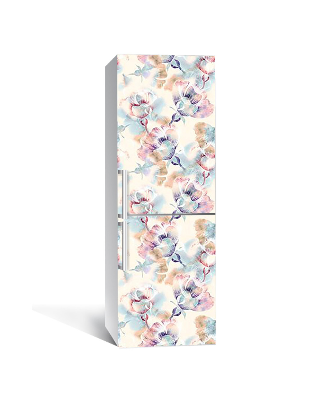 Вінілова 3Д наклейка на холодильник Квітковий гербарій (плівка ПВХ фотодрук) 65*200см Абстракція Блакитний