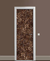 Декор двери Наклейка виниловая Шоколадный мрамор Камень ПВХ пленка с ламинацией 65*200см Текстуры Коричневый