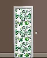 Декор двери Наклейка виниловая Монстера Листья Пальмы ПВХ пленка с ламинацией 65*200см Растения Зелёный