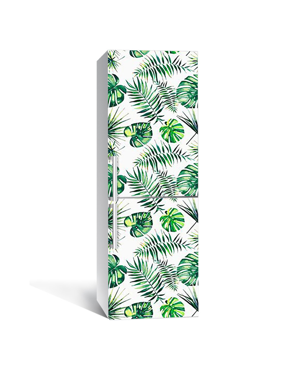 Наклейка на холодильник Монстера Листья Пальмы (пленка ПВХ с ламинацией) 65*200см Растения Зелёный