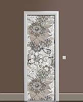 Декор двери Наклейка виниловая Узорная Роспись Орнамент ПВХ пленка с ламинацией 65*200см Абстракция Серый