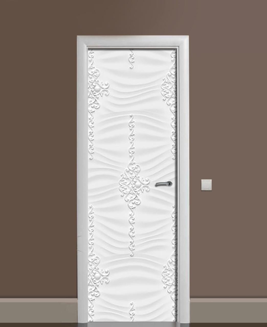 Вінілова наклейка на двері Гіпсові вензелі ПВХ плівка з ламінуванням 65*200см Текстура Сірий