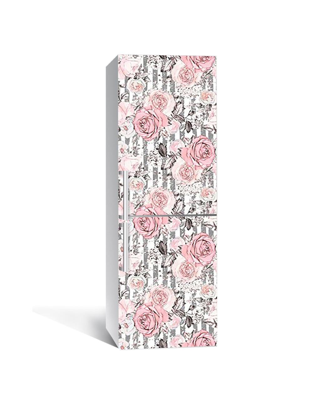 Декор 3Д наклейка на холодильник Вантажні Троянди (плівка ПВХ з ламінуванням) 65*200см Абстракція Рожевий