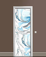 Вінілові наклейки на двері Бірюзовий Мармур ПВХ плівка з ламінуванням 65*200см Текстура Блакитний