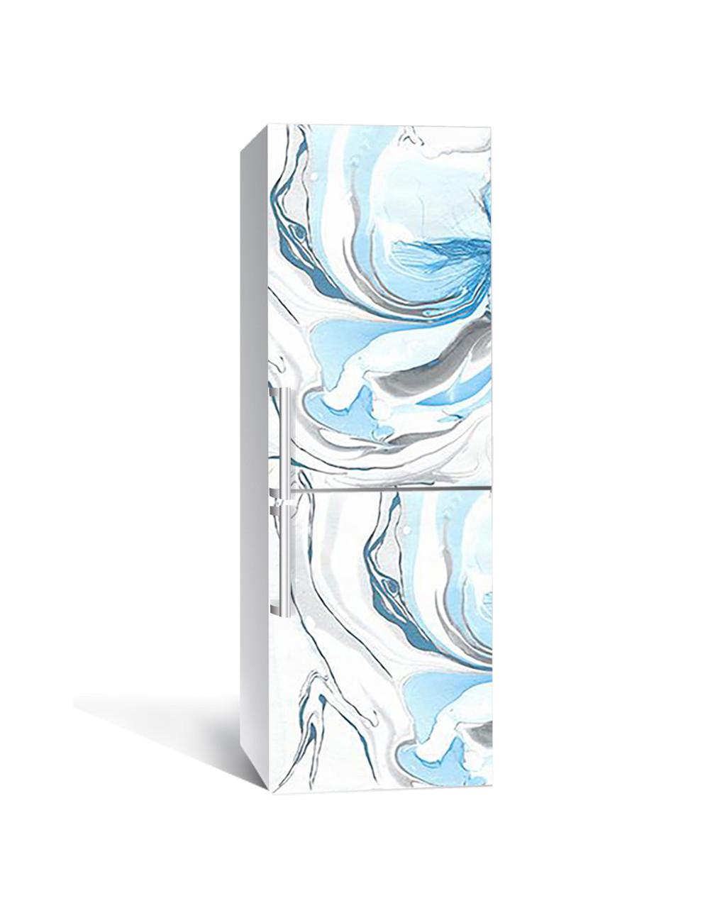 Вінілова 3Д наклейка на холодильник Бірюзовий Мармур (плівка ПВХ фотодрук) 65*200см Текстура Блакитний