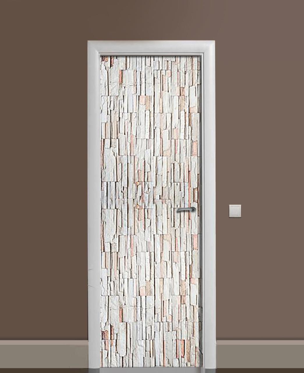 Виниловая наклейка на дверь Декоративный кирпич ПВХ пленка с ламинацией 65*200см Текстуры Серый