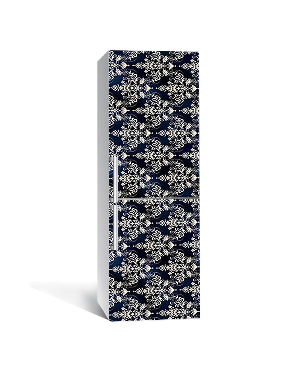 Виниловая наклейка на холодильник 3Д Королевские Узоры (пленка ПВХ фотопечать) 65*200см Абстракция Черный