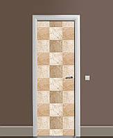 Декоративна наклейка на двері Бежева клітина Квадрати ПВХ плівка з ламінуванням 65*200см Геометрія Бежевий
