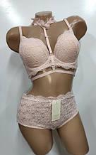 Комплект жіночої білизни ажурний Weiyesi чашка 80 85 90С арт 965 рожевий.