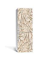 Виниловая наклейка на холодильник 3Д Золотая фольга (пленка ПВХ фотопечать) 65*200см Текстуры Бежевый