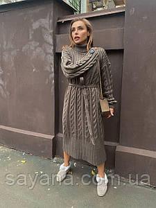 Женское вязаное шерстяное платье расцветках ОЛ-3-0221