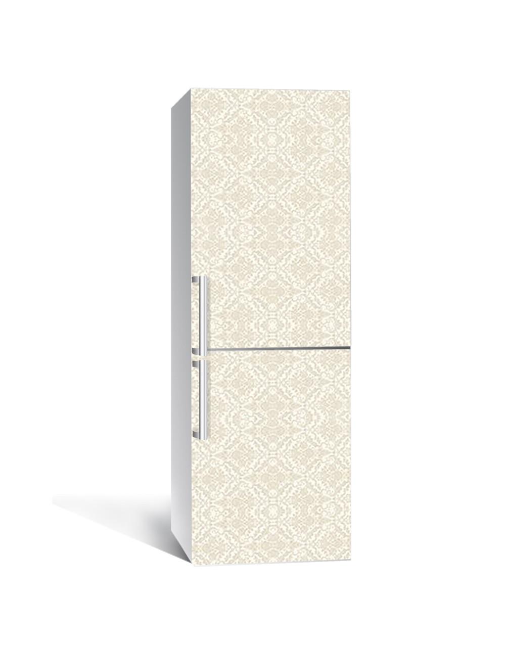 Декор 3Д наклейка на холодильник Вензель Бежевий візерунок (плівка ПВХ фотодрук) 65*200см Абстракція Бежевий