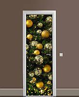 Декоративная наклейка на двери Новогоднее украшение Шары ПВХ пленка с ламинацией 65*200см Текстуры Зелёный