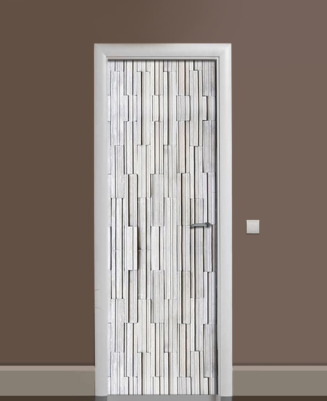 Вінілова наклейка на двері Абстракція Метал ПВХ плівка з ламінуванням 65*200см Текстура Сірий