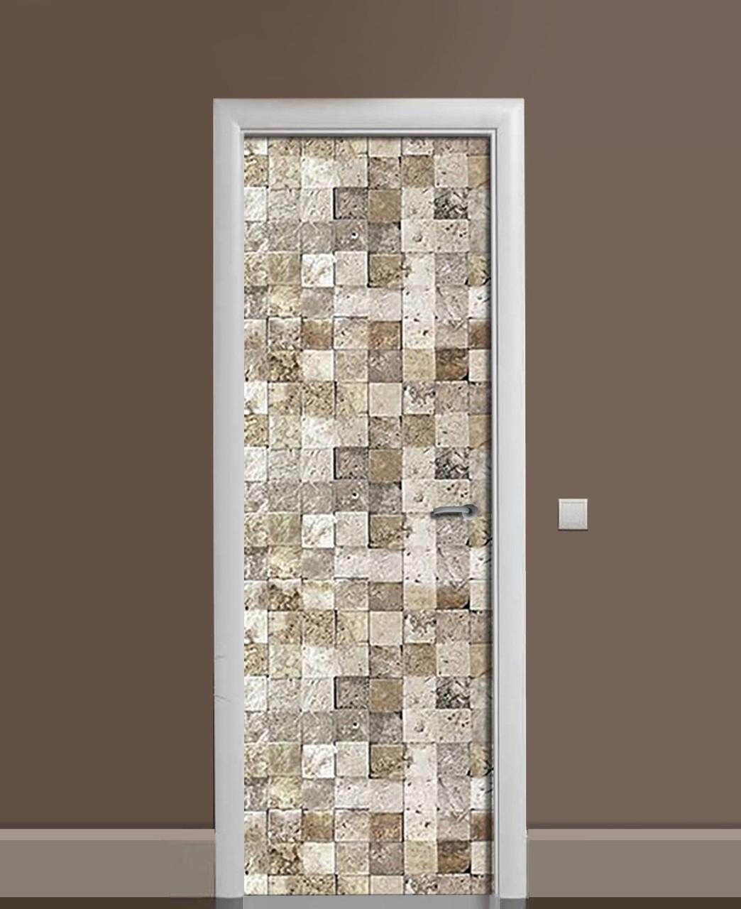 Декор двері Наклейка вінілова Графітові стрижні Камінь квадрат ПВХ плівка 65*200см Геометрія Бежевий