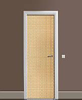 Декор двері Наклейка вінілова Канатне плетіння 3Д ПВХ плівка з ламінуванням 65*200см Текстура Бежевий